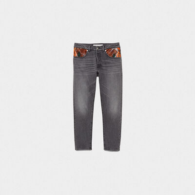 Jeans Jolly con patch in pelle pitonata