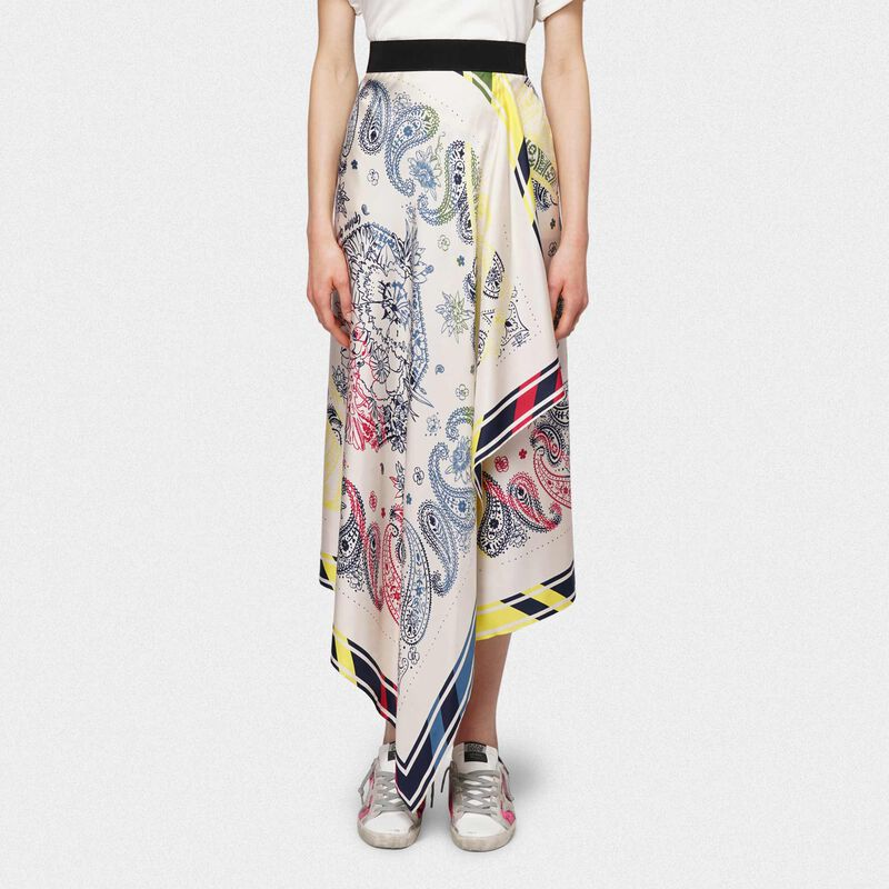 Golden Goose - Kaylee skirt in scarf print pure silk in  image number null