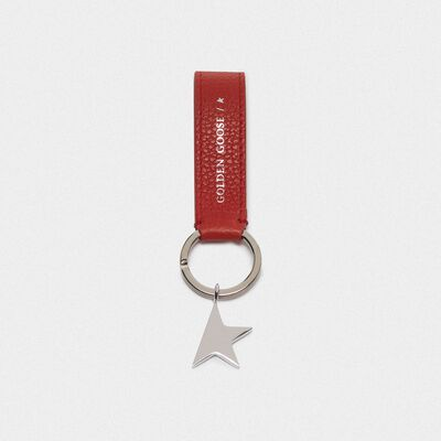 Red Star Keyring with silver pendant