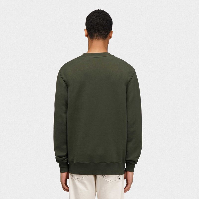 Golden Goose - Green Golden sweatshirt with contrasting Golden logo in  image number null