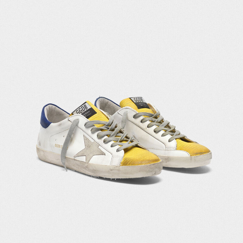 Golden Goose - Two-tone Superstar sneakers with yellow lizard-print insert in  image number null
