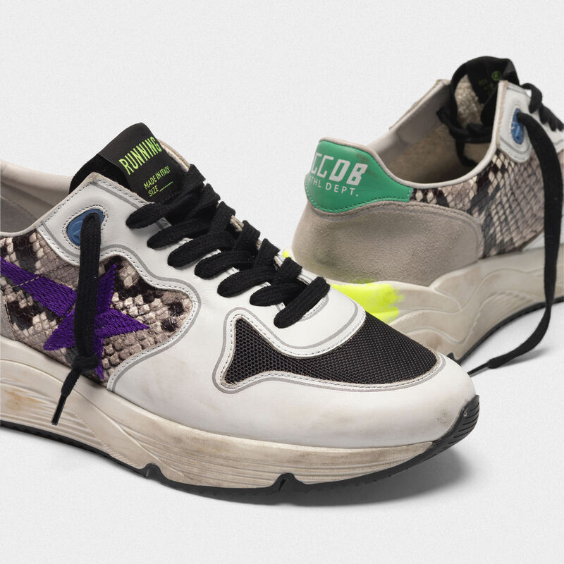 Golden Goose - Sneakers Running Sole in pelle stampa serpente con stella viola ricamata in  image number null