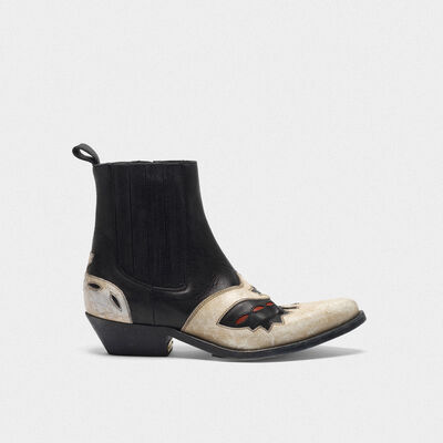 Black and white Santiago ankle boots