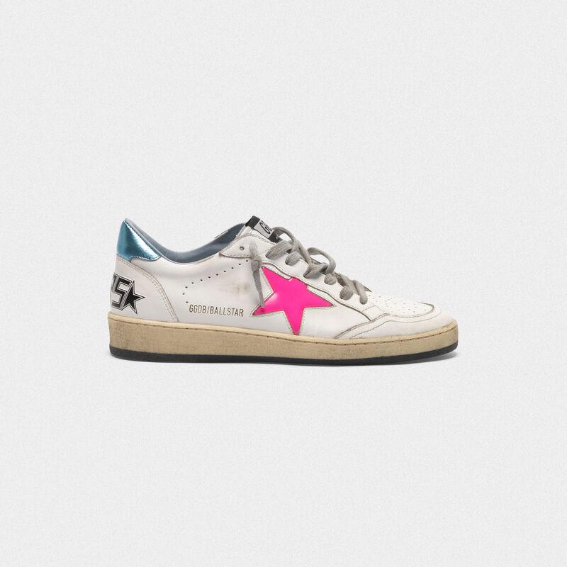 Golden Goose - Sneakers Ball Star con stella fuxia e talloncino azzurro in  image number null