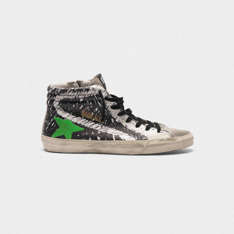 Golden Goose - Slide sneakers in leather and suede with printed design in  image number null