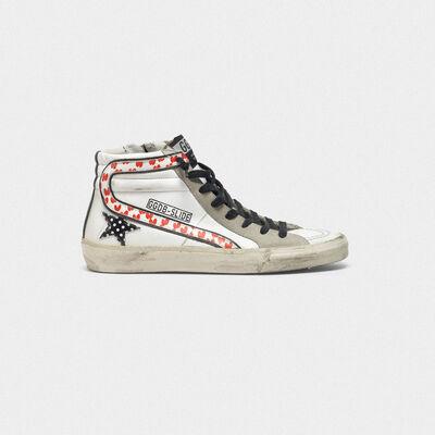 Sneakers Slide in pelle con stella a pois