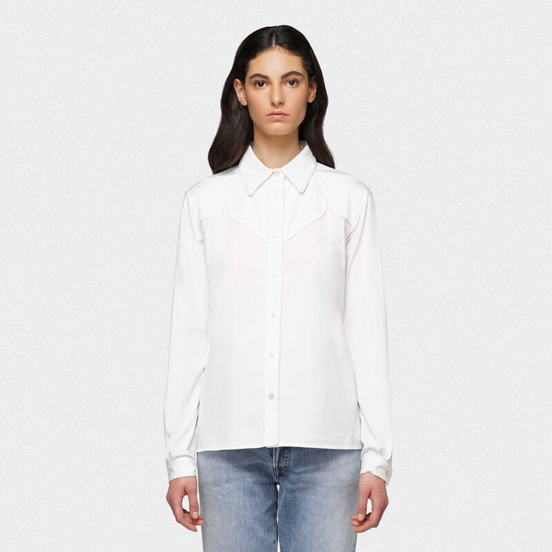 Golden Goose - Camicia Madelyn bianca in popeline di cotone in  image number null