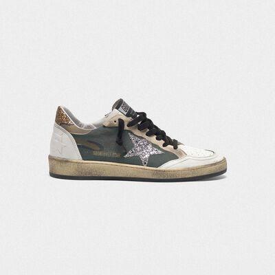 Sneakers Ball Star camouflage con stella e talloncino glitter