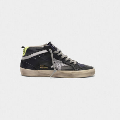 Mid Star sneakers in smooth leather and suede with glitter star