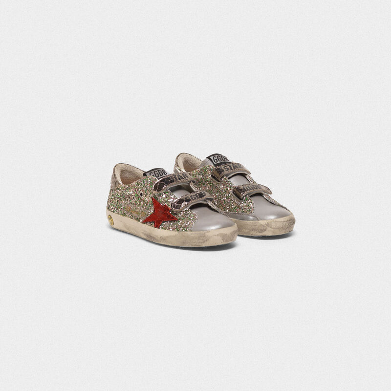 Golden Goose - Sneakers Old School in glitter e stella rossa in  image number null