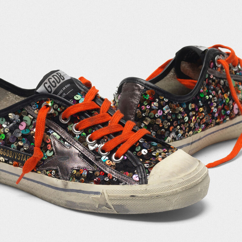 Golden Goose - V-STAR sneakers with all-over sequins and metallic star in  image number null