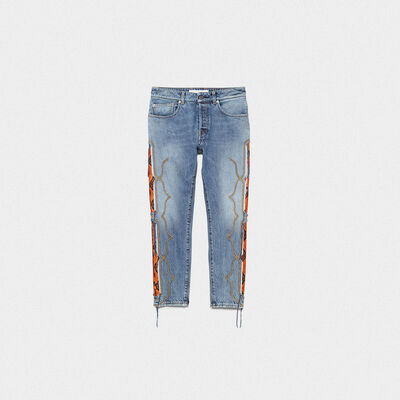 Jolly jeans with snakeskin print leather inserts and embroideries