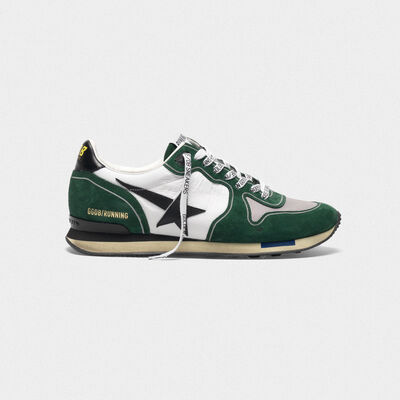 White and green Running sneakers in leather and suede