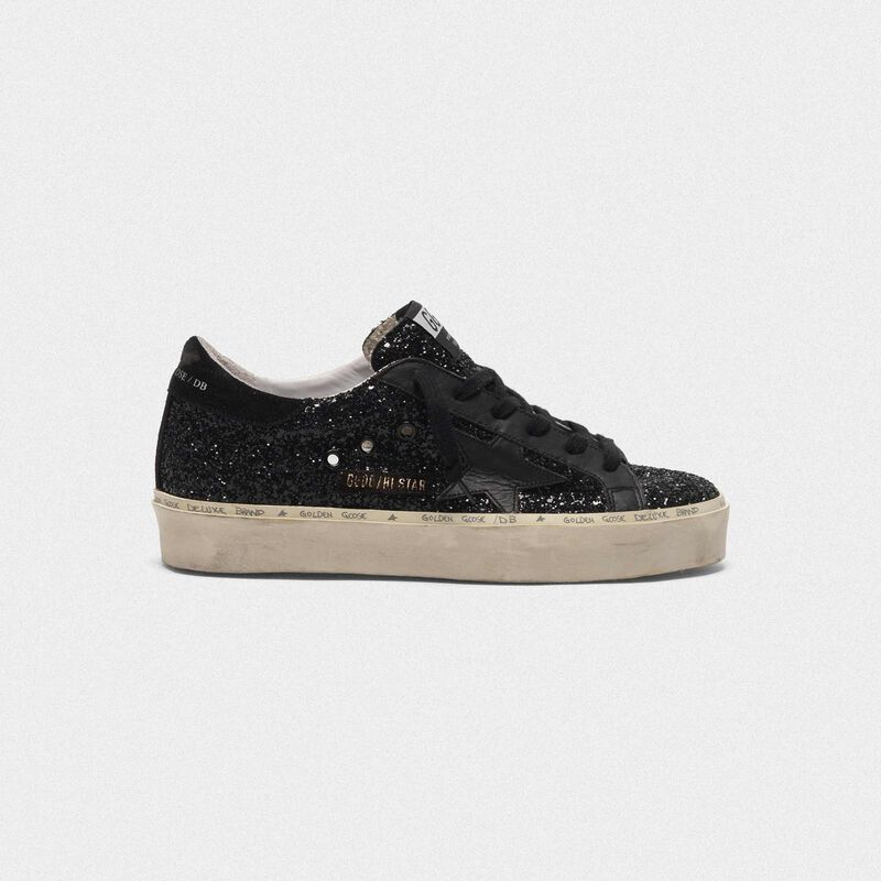 Golden Goose - Sneakers Hi Star con tomaia nera in glitter in  image number null