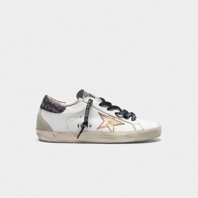 Superstar sneakers with gold star and glittery heel tab