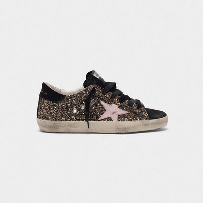 Superstar sneakers in glitter with red leather star