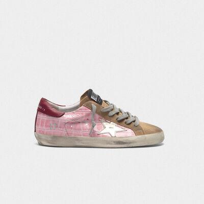 Sneakers Superstar in pelle stampa cocco rosa e stella platino