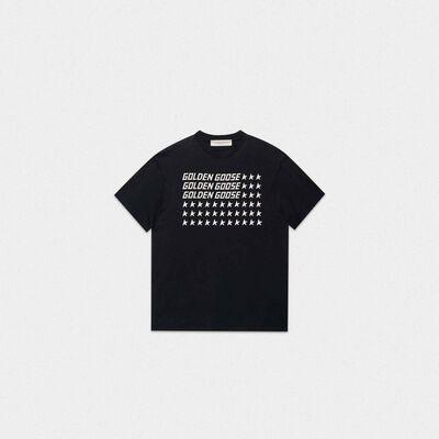 Black Golden T-shirt with flag print