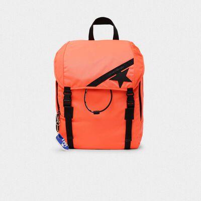 Fluorescent orange nylon Journey backpack