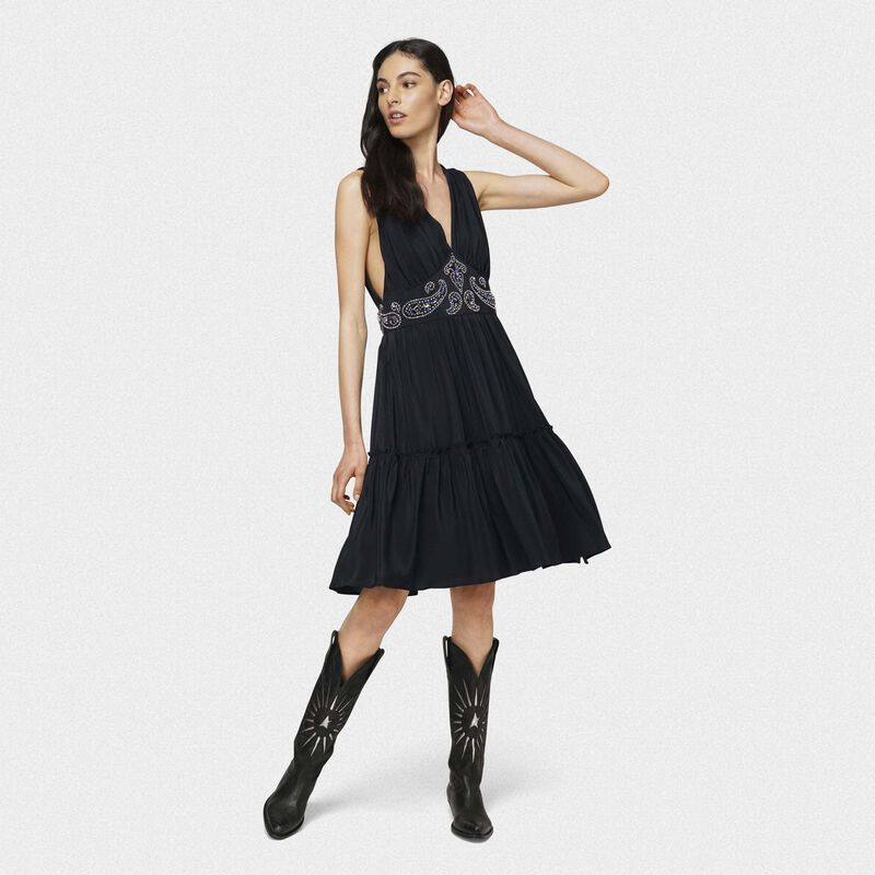 Golden Goose - Black silk Aubree dress with decorative studs in  image number null