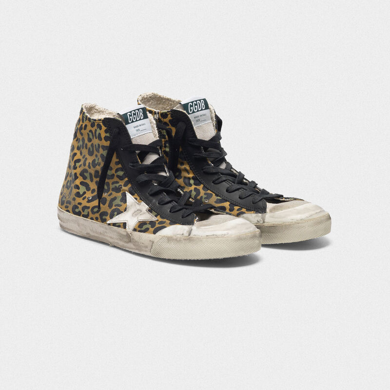 Golden Goose - Francy sneakers in canvas with leopard pattern and leather in  image number null