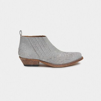 Silver Santiago Low ankle boots with glitter