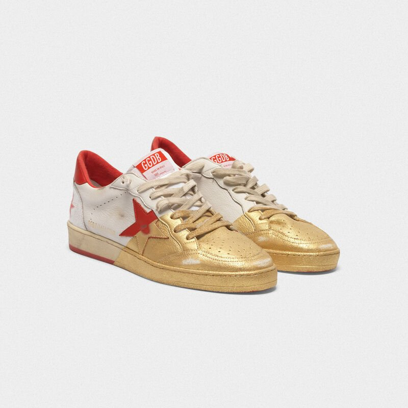 Golden Goose - Sneakers Ball Star in pelle con verniciatura dorata sul davanti in  image number null
