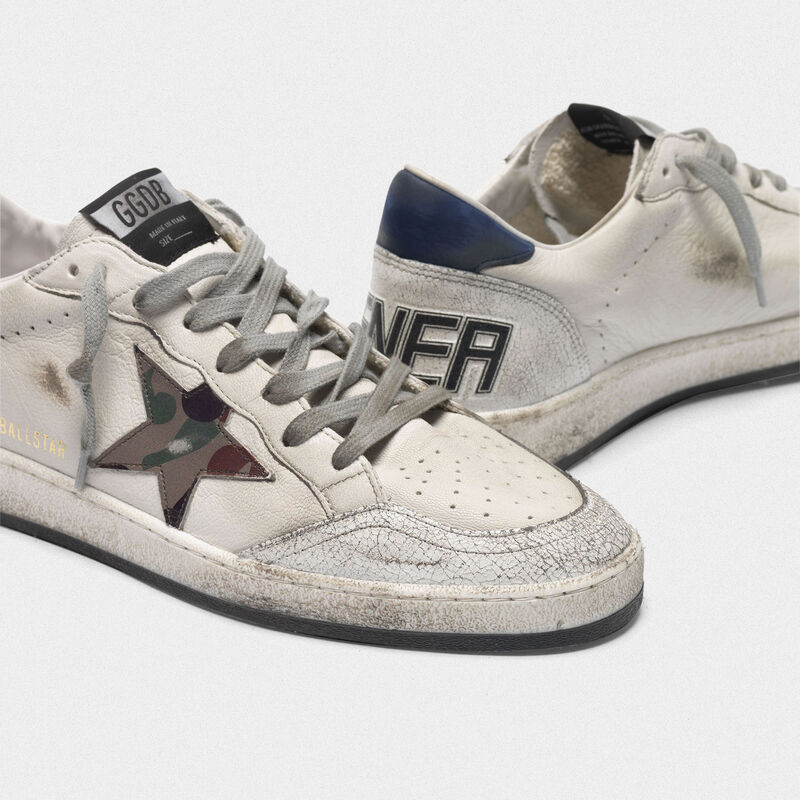 Golden Goose - Sneakers Ball Star con stella camouflage e talloncino blu in  image number null