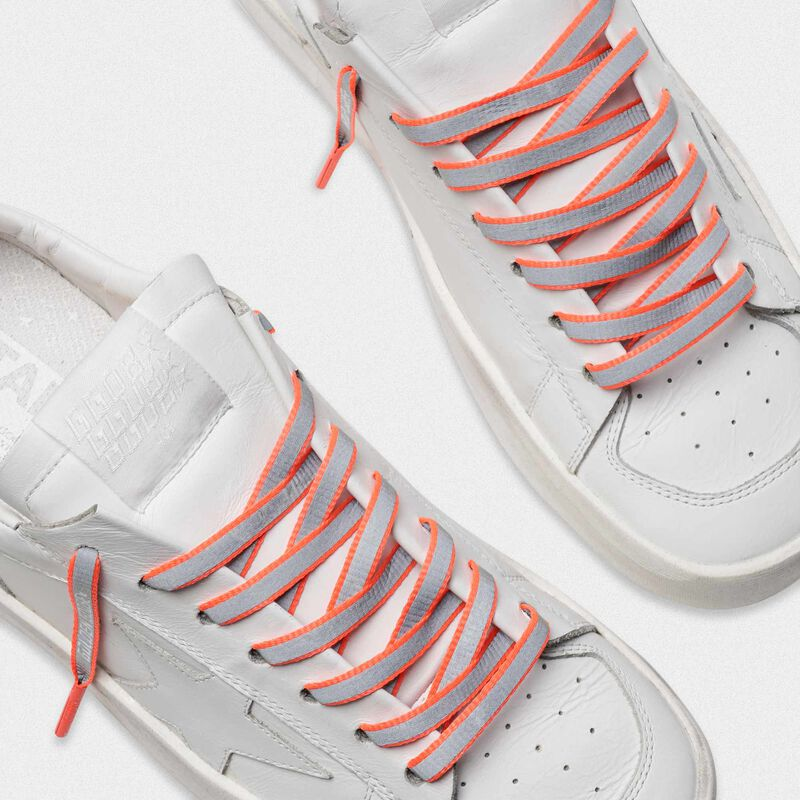 Golden Goose - Men's neon orange reflective laces with logo in  image number null
