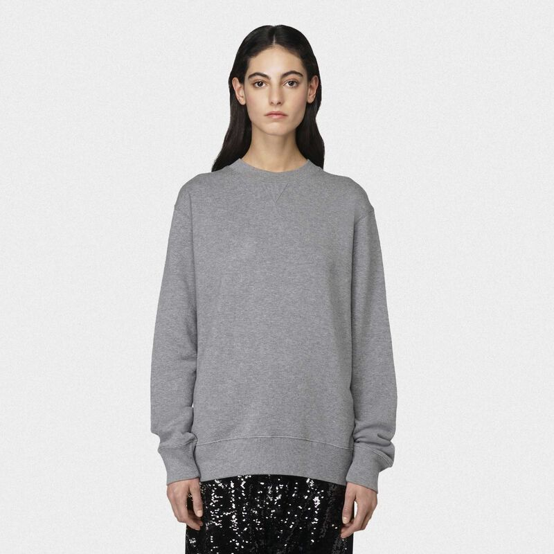 Golden Goose - Grey Robbie sweatshirt with Love embroidery in  image number null
