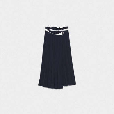 Hasu colour-block skirt in crepe de chine with sunray pleats