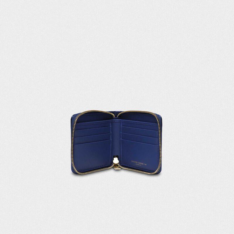 Golden Goose - Portafoglio Star Wallet medium blu metallizzato in  image number null