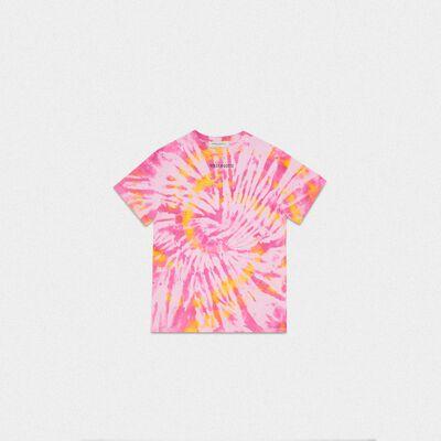 T-shirt Golden tie-dye con stampa Sneakers Lover sul retro