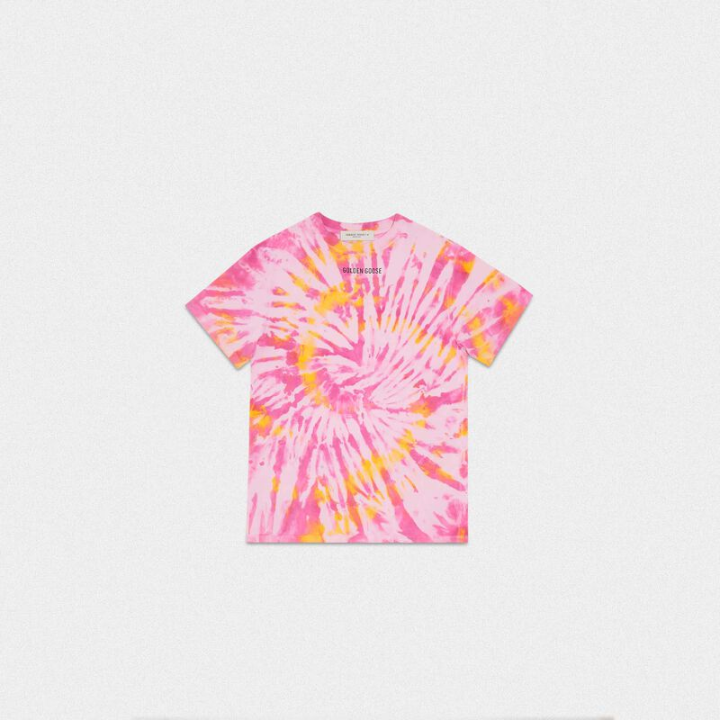 Golden Goose - Golden tie-dye T-shirt with Sneakers Lover print on the back in  image number null