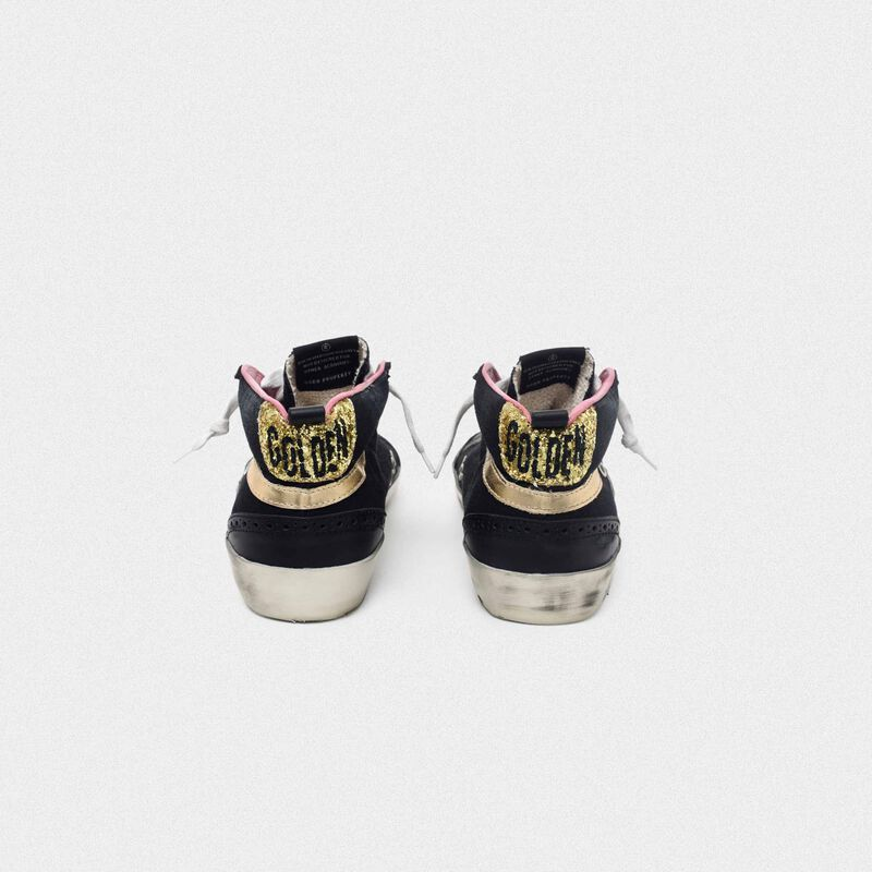 Golden Goose - Black Mid-Star sneakers with gold-coloured inserts and glitter in  image number null