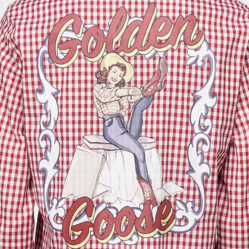Golden Goose - Betty shirt with red and white checks and pin-up print in  image number null