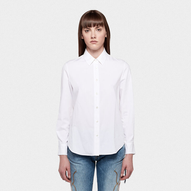 Golden Goose - Golden shirt with raw edges and contrasting fabrics in  image number null