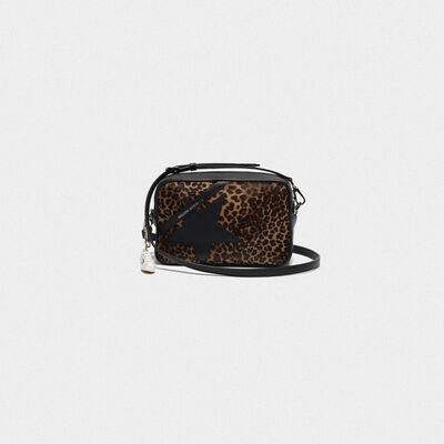 Star Bag made of leopard print pony skin