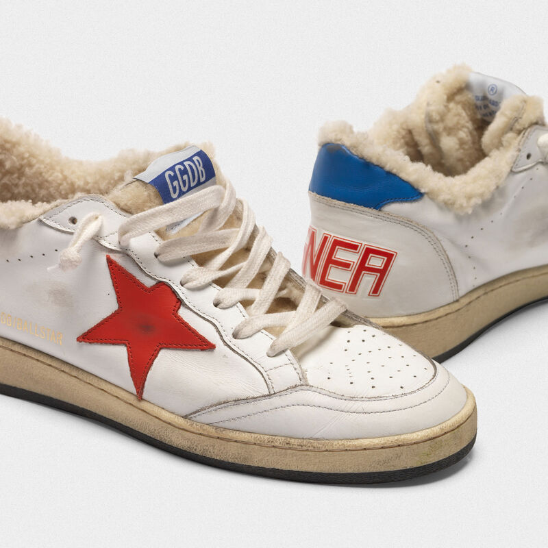 Golden Goose - Sneakers Ball Star in pelle con inserto in shearling  in  image number null