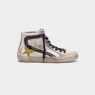 Slide sneakers with snake-print logo