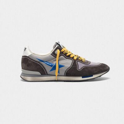Sneakers running in suede con inserto mesh e nylon