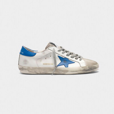 Superstar sneakers in leather and blue star suede