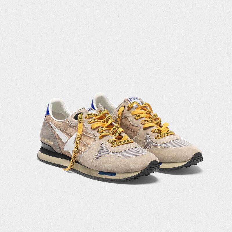 Golden Goose - Sneakers Running stampa cocco e suede nude in  image number null