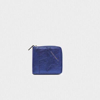 Portafoglio Star Wallet medium blu metallizzato
