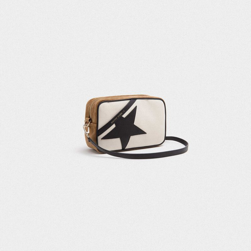 Golden Goose - Star Bag made of canvas and brown suede leather with black star in  image number null