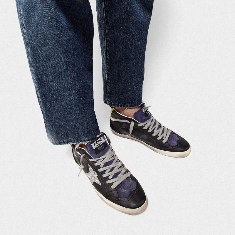 Golden Goose - Mid Star sneakers in smooth leather and suede with glitter star in  image number null