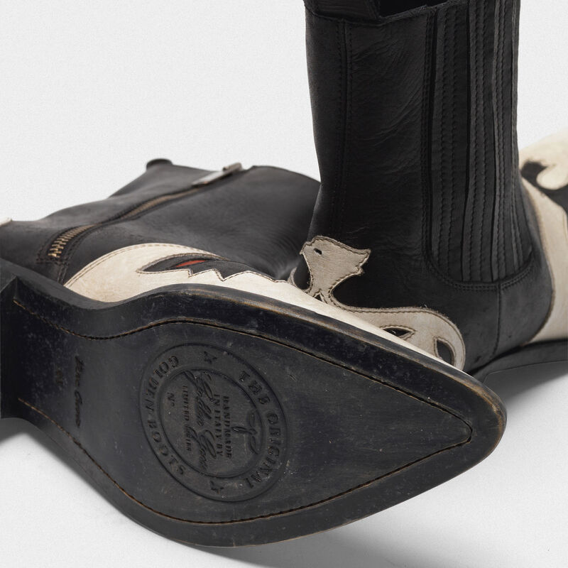 Golden Goose - Austin ankle boots in black and white with eagle in  image number null
