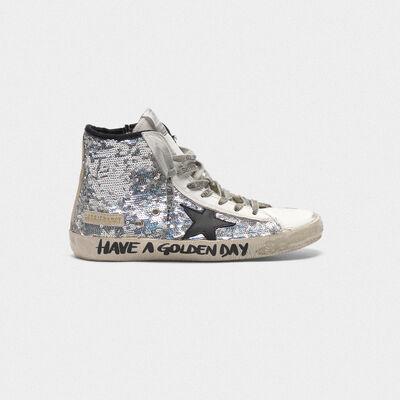 Sneakers Francy con paillettes argentate e scritta a mano