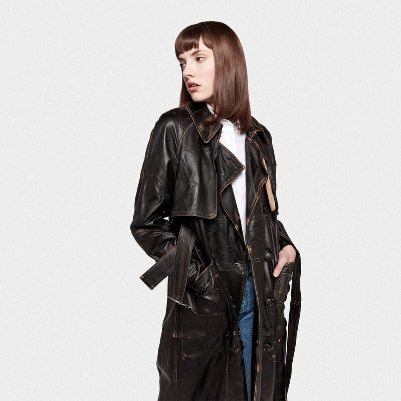 Golden Goose - Trench Masami in pelle vintage effect in  image number null