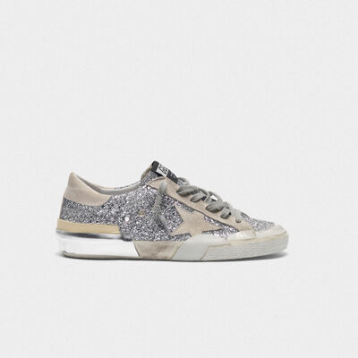 Glittery patchwork Superstar sneakers with multi-foxing